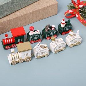Wooden Christmas Train Snowman Bear Mini Train Décor Ensemble Train De Noël Ornement Jouets Décorations Accueil Décor GWA2487