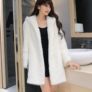 Vetement High Imitation Fur Coat Women Hooded Faux Fur Coat Medium-Long Overcoat Plus Size Outwear S-4XL Winter