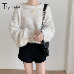 Trytree 2020 Autumn Winter Woman Sweater Casual Shiny Mohair O-neck Puff Sleeve Pullovers Sweater Elastic Knitted Solid Tops