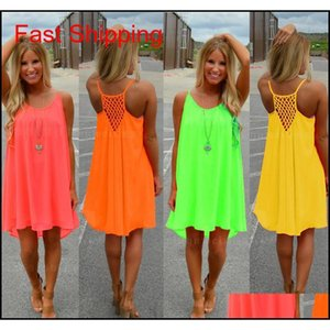 Sexy Casual Dresses Women Summer Sleeveless Evening Dance Party Beach Dress Short Chiffon Mini Dress Ladies Loose Clothing Apparel Nv4Za