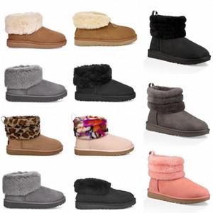 2020 New Womens Wgg Snow Boots Ankle Short half Bow Fur Designer For keep warm Winter Platform Shoes Australian Girls' short boot P8Ri#