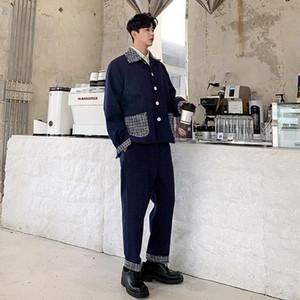 Men 2 PCS Sets Suits Jacket Trousers Male Vintage Fashion Streetwear Casual Jacket Outerwear Wool Coat