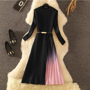 Winter Dress 2020 Elegant Long Midi Party Dress Warm Knitted Long Sleeve Slim Formal Pleated Autumn Spring