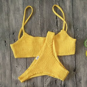 Yellow Ruffles Crochet Sexy Bikini Set Women Push-up Padded Bra Biquini Swimsuit Triangle Swimwear Bathing Suit Mujer