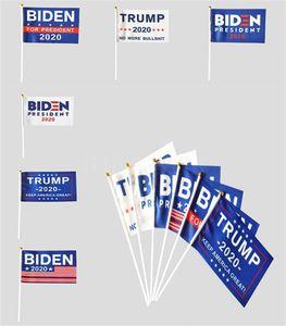 Trump Biden Hand Flag 14*21CM Letters Print USA American Stars stripes Flags President General Election Banner DHE2773