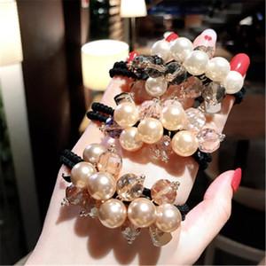 Haarschmuck Frauen Elastische Bands Krawatte Mädchen Perle Kristallperlen Bogen Knoten Koreanischer handgemachter Kopf Großhandel