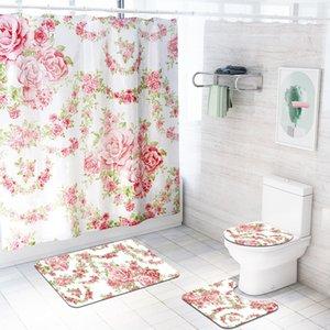 Rosa chinesa 4 pçs / set chuveiro cortina de banho tapete de banho set tampa de banho esteira conjunto de acessórios de banho cortinas com ganchos t200711