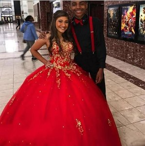 Red With Gold Applique Ball Gown Quinceanera Dresses Cheap 2020 Sweetheart Beading Tulle Floor Length Prom Formal Evening Dress Cheap