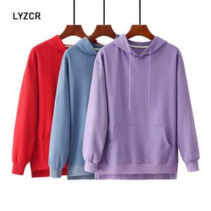 LYZCR Oversized Hoodie Moletons Mulheres roxo moletom com capuz para as Mulheres manga comprida Hoodies Sueter Outono Tops Y1116