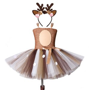 Deer Tutu Dress Girl Christmas Dresses with Headband Kids Halloween Costume Baby Girl Princess Elk Reindeer Outfit for New Year F1130