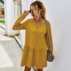 Independent design real shot! Amazon network Hong 2020 autumn and winter new European and American simple casual dress women