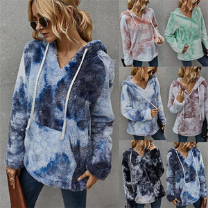 Diyun women's clothing 2020 Winter new fashion tie-dyed hooded thickened sweater for women DGFD