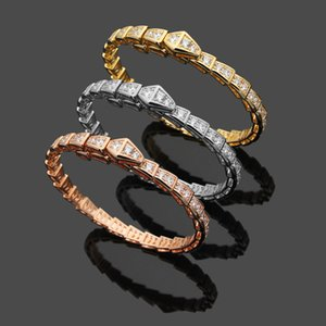 New Arrive Fashion Lady 316L Titanium steel Lettering Full Diamond Snakelike 18K Plated Gold Open Narrow Bracelets 3 Color