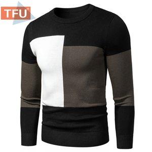 TFU Autunno Inverno nuovi uomini rappezzatura di modo caldo pile Maglioni Pullover Uomini abito casual Inghilterra Stile Maglione Pullover 201117