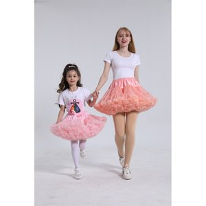 Solid Color Parent-Child Costume Ballet Kids Pettiskirt Girl Fluffy Lace Girl Skirts Princess Tulle Party Dance Baby Tutu Skirt Y1201