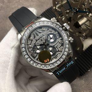 N9 Top Versão 116588 TBR Full Diamond Dial Silver Diamond Bezel ETA7750 Movimento Mecânico Automático Mens Assista Relógios de Marca de Borracha