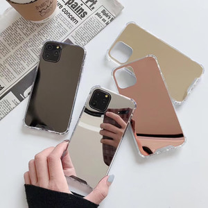 For iPhone 12 Pro Max 11 Pro X 8 Plus Mirror TPU Phone Case For Samsung S20 Plus S10 S9 Note 20 Shockproof Protect Clear Cover with Opp Bag