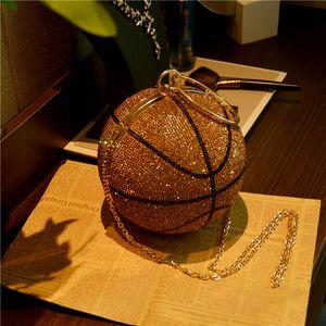 HBP Basketball Round Ball Gold Clutch Purses Crossbody For Women Evening Rhinestone Handbags Ladies Party Shoulder Bag Pink Black Bling Upgb