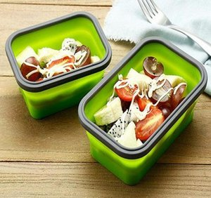 500ml Sile Collapsible Lunch Box Food Storage Container Bento Bpa Free Microwavable Portable Picnic Camping Rectangle bbypHt soif