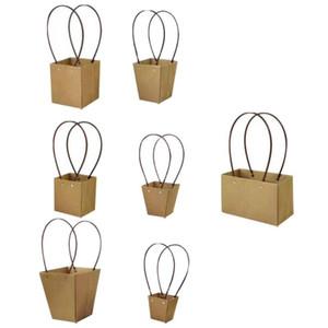 7pcs kraft papier sac à main sac rétro sac cadeau de fleur créatif emballage