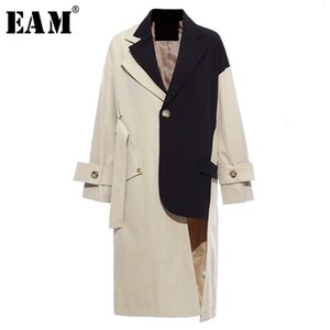 [EAM] Women Khaki Big Size Asymmetrical Trench New Lapel Long Sleeve Loose Fit Windbreaker Fashion Spring Autumn 1K912 201124