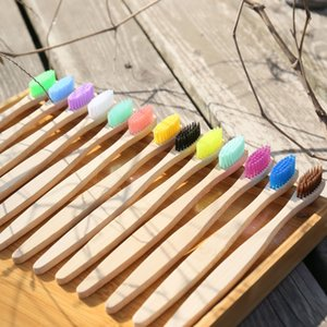 Head Bamboo Toothbrush 13 Color Wholesale Environment Wooden Rainbow Bamboo Toothbrush Bath Supplies Oral Care Soft Bristle LLS295
