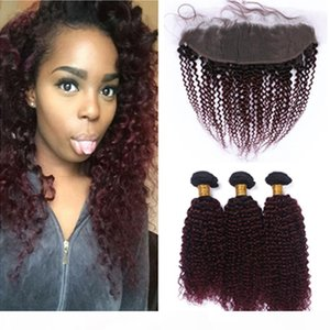 #1B 99J Wine Red Ombre Kinky Curly 3Bundles Brazilian Hair with Frontal Burgundy Ombre 13x4 Lace Frontal Closure with Human Hair Weaves