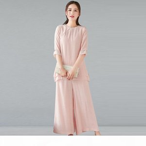 xTEtH Summer suit Cotton and linen tea artist Zen style women's clothing cotton and linen two-piece suit Chinese style Buddhist househo