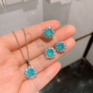 Beautiful 925 Silver Plated Paraiba Tourmaline Set Earrings Pendant Necklace Ring For Women Engagement Wedding Gift Jewelry