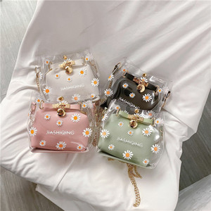 Creative Design Transparent PVC Handbag Classic Texture Chic Daisy Flower Clutch Totes PU Shoulder Bag Composite Set