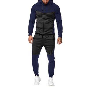 Hommes SweatSuits Contraste Couleur Mens Tracksuits 2020fw Veste + Joggers en cours d'exécution Outerwear Homme Tenue de sport Active Sport Sport Sport