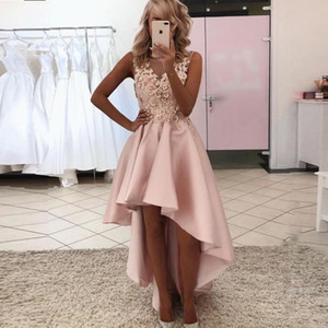 2021 Blush High Low Prom Dress Applique Lace Satin Homecoming Graduation Dress A-Line Cocktail Party Gowns Vestidos De Fiesta