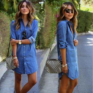 Womens Blue Jeans Denim Shirt Long Sleeve Casual Loose Shirt Mini Dress New Drop Shipping Good Quality