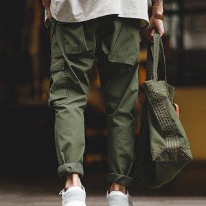 vendemmia verde carico pantaloni militari tattici militari uomini Maden della tuta tasche multiple cotone casuale dei pantaloni degli uomini Y1114