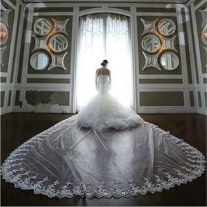 New Fashion Cathedral Length Bridal Veils with Appliques Edge Long Wedding Veil Vestido De Noiva Dress Accessories