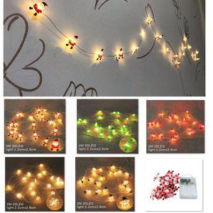 LED Weihnachtsbeleuchtung 2m 20LED String Santa Claus Black Hat Schneemann Hirschkopf Weihnachtsdekoration Lightsxmas Geschenk Neues Jahr HH9-3685