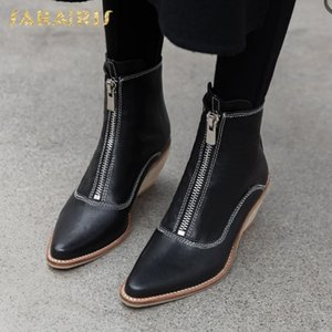 Sarairis 2020 New Design Big Size 43 Zipper Shoes Ladies Boots Woman Genuine Leather High Heels Spring Autumn Boots Female