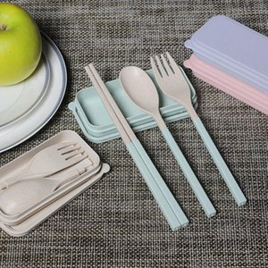 Portable Wheat Straw Fork Cutlery Set Foldable Folding Chopsticks Spoon With Box Picnic Camping Travel Tableware Set OWD3117