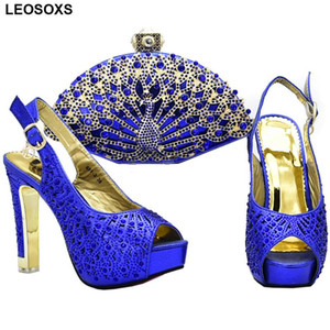 Italian Shoes with Matching Bag for Women Nigerian Women Wedding Shoes and Bag Set Decorated with Rhinestone Womens Heels