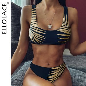 Ellolace Vintage Leave Print Bikini 2020 Mujer Bandeau Swimsuit Female High Cut Bathing Suit Sexy Swimwear Women Summer Bathers