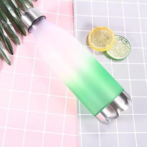 Plastic Gradient Water Bottle Creative Gradual Color Cup Leak Prevention Cola Shape tumbler Portable Men Women Mug HWF3471