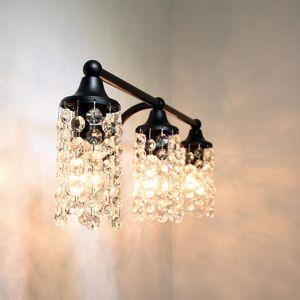 Aoiour Vintage 3 Light Crystal Wall Sconces com Clear Vidro Casa de Banho Simples Luxo Decorativo Lâmpada De Parede Black Room Iluminação