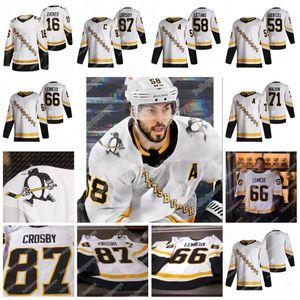 피츠버그 펭귄 2021 Reverse Retro Jersey 87 Sidney Crosby 58 Kris Letang 71 Evgeni Malkin 66 Mario Lemieux Jake Guentzel Jason 주커