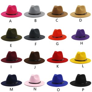 TOP hats for men & women Elegant fashion Solid felt Fedora Hat Band Wide Flat Brim Jazz Hats Stylish Trilby Panama Caps Vintage hat ePacket
