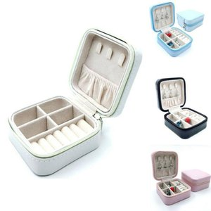 Women Travel Jewelry Storage Box Case PU Leather Zipper Boxes Organizer for Earrings Rings Jewelry T200301
