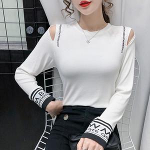 Long Sleeve T-shirt Women's Strapless Tops Fashion Sexy Slim Ladies T-shirt 2021 New Spring Autumn T-shirt