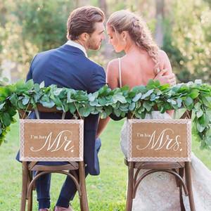 Keten Mr Mrs Rustik Düğün Dekor Çuval Sandalye Afiş Damat Ve Gelin Fotoğraf Sahne Yıldönümü Asılı Işaretler Set Vintage Düğün Jllhis