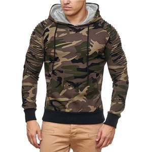 2 color hoodie essentials hoodie Mens hooded sweater camouflage pleated casual pullover jacket men gray green 1 piece of mens fog hoodie