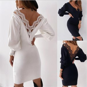 Autumn Women Dress Lace Puff Long Sleeve Dress Jumper Ladies Elegant Casual Solid Pullover Hollow Out Backless Pencil