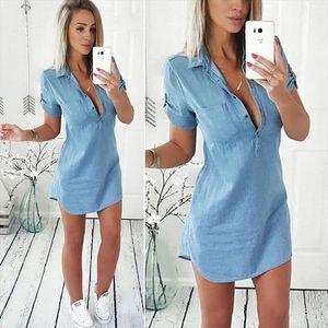 2021 Brand New Fashion Women Ladies Shortsleeve Dresses Summer Denim Sundress Casual Tops Mini Dress Denim Blouse